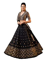 Epex Womens Taffeta Silk & Embroidery Work Lengha Choli And Blouse With Net Dupatta (Black; Free size) (black)