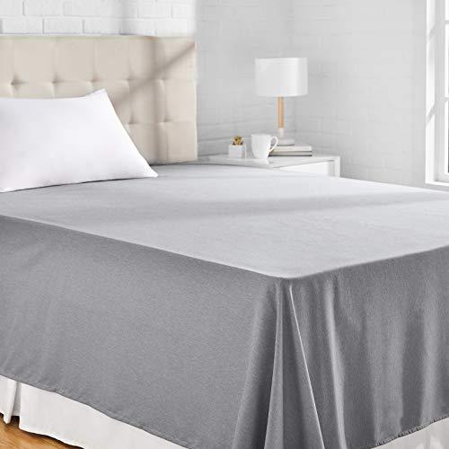 AmazonBasics Bettlaken, Mikrofaser, melierter Stoff, 180 x 260 + 10 cm - Grau (Slate Grey)