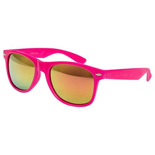 Ciffre EL-Sunprotect® Sonnenbrille Nerdbrille Brille Nerd Feuer Verspiegelt Pink UV400