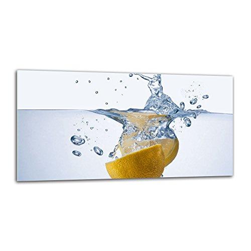 decorwelt Küchenrückwand Spritzschutz aus Glas 80x40 cm Wandschutz Herd Spüle Küchenspritzschutz Fliesenschutz Fliesenspiegel Küche Dekoglas Zitrone Gelb-Weiß