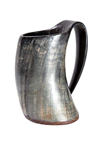Hornbecher ca. 300-490 ml aus echtem Horn mit Holzboden