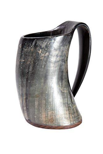 Frera Hornbecher ca. 300-490 ml aus echtem Horn mit Holzboden