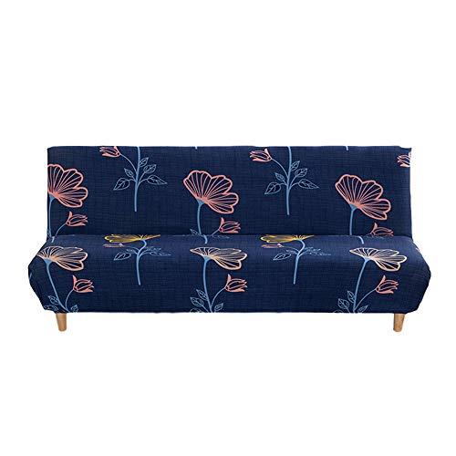 LFONCE Funda de sofá sin brazos, funda de sofá no elástica con estampado de hojas de arce antideslizante elástico para uso general, funda de sofá cama todo incluido (C)