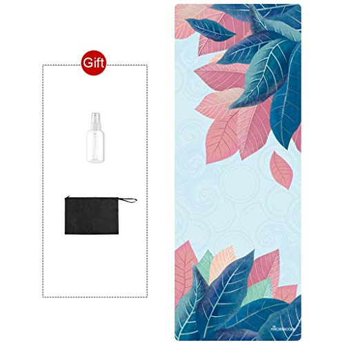 Hoge kwaliteit Machine Washable Yoga Mat Pad Towel Foldable Antislip Kids Play Mats Yoga Deken Gratis Yoga Mat Bag -dansmat game tv (Color : Bodhi Leaf)
