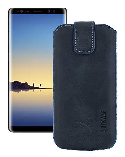 Suncase Etui Tasche für Samsung Galaxy Note 8 | mit ZUSÄTZLICHER Hülle/Schale / Lasche mit Rückzugfunktion + Zwei Kartenfächer Ledertasche Schutzhülle Hülle in Pebble-Blue