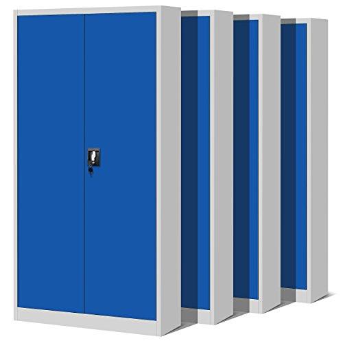 Jan Nowak 4er Set Aktenschrank C001H Büroschrank Metallschrank Stahlschrank Werkzeugschrank Stahlblech Pulverbeschichtet Flügeltürschrank Abschließbar 195 cm x 90 cm x 40 cm (grau/blau)