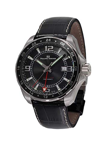 Philippe Vandier Reloj Hombre Swiss Made Speed Lane GMT Black Movimiento Cuarzo Suizo con Correa de Piel y Cristal de Zafiro