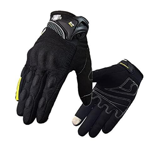 Guante de Motocross con Pantalla táctil de Verano, Guante de Motocross Transpirable de Malla de Dedo Completo, Guantes de Moto MTB para Dirt Bike-SU09-Black-2-M