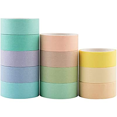 Yubbaex 12 Rolls Natural Washi Tape Set Bullet Journal Candy Color Decorative Tapes for DIY Macaron 15mm Wide Craft Wrapping Scrapbook