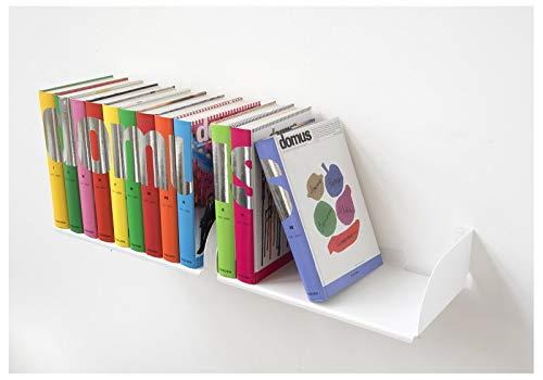 Teebooks Etagères Murales pour BD - Lot de 2 étagères - Acier - Blanc - 45 x 25 x 15 cm