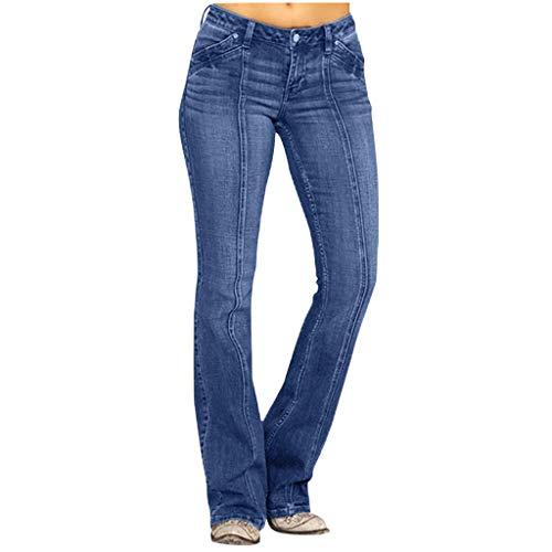 HDUFGJ Damen Slim Fit Schlaghose Skinny Straight Jeans Hosen Mid Waist Coated Skinny Jean Jeanshosen Hosen Leggings Push Up Jeans Stretch Große Softshellhose beiläufige Streetwear3XL(Blau)