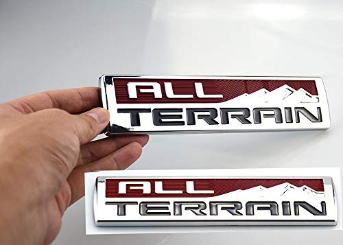 Pair Set Big Size 8Inch All TERRAIN Fender Emblem Badge 3D Nameplate Sticker Decal Replacement For GMC Sierra 2500HD 3500 HD (Chrome Red)