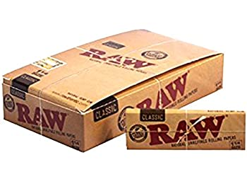 Raw Unrefined Classic 1.25 1 1/4 Size Cigarette Rolling Papers Full Box of 24 Pack
