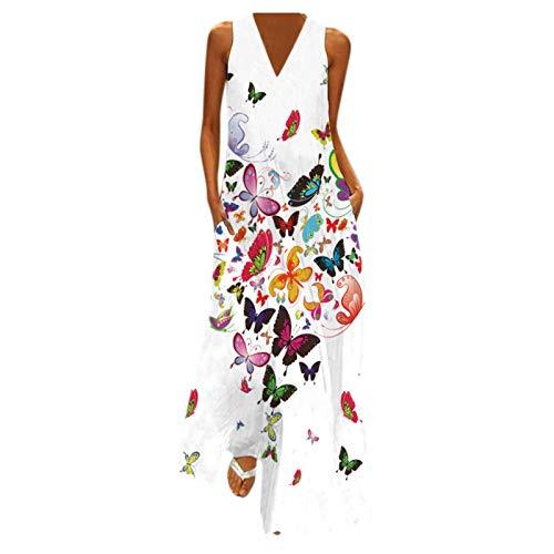 Vestido de Largo Boho Mujer Maxi con Bolsillos Verano sin Manga Estampado de Mariposa Bohemia Vestido de Playeros Casual Ropa de Cuello en V