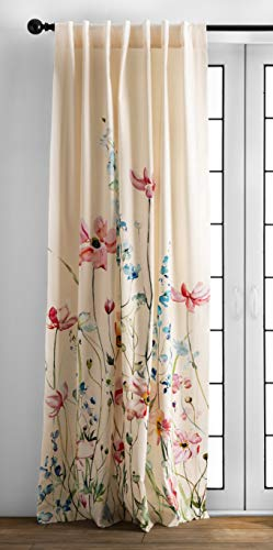 Maison d' Hermine Delphinium 100% Cotton Curtain One Panel for Living Rooms Bedrooms Offices Tailored with a Rod Pocket and Loop for Easy Hanging (Beige Background, 50 Inch by 84 Inch ).