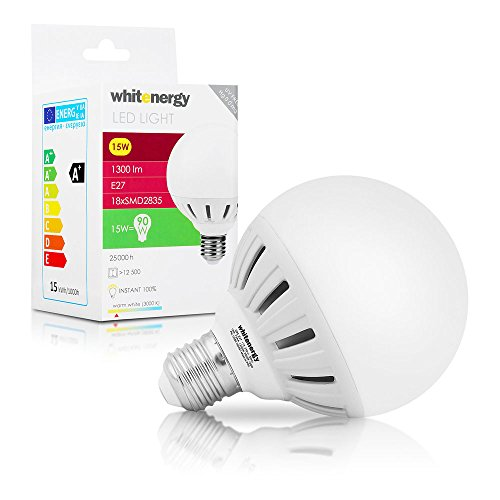 WHITENERGY E27 15 Watt LED-lamp globe vorm - 1300 lumen - cf. 90W - 100W gloeilamp - warm wit (3000 K) - SMD 2835 - LED-lamp 160 ° stralingshoek - G95 Globe