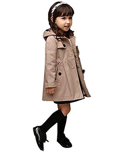 FAIRYRAIN Mädchen Kids/Teens Kinder Jacke Trenchcoat Outwear Mantel mit abnehmenbarer Kapuze (Größe 140 (Höhe: 135-145, Alter for10-11), Khaki-kariert)