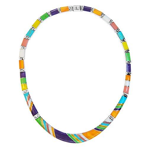 Calani 925 Silber handgefertigte Halskette mit MALACHIT, TIGER AUGE, SODALITE und farbigen Abschrägungssteinen, hergestellt in der Stadt Taxco, Mexiko. Länge: 40 cm Gewicht: 35,2 g