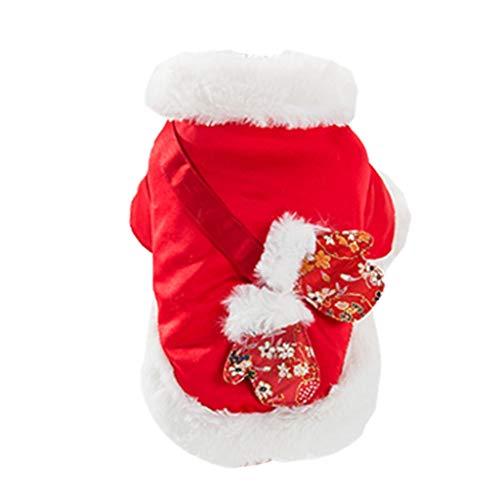 Superweicher Tiermantel Mit Ausschnitt Roter Hochwertiger Baumwollpullover Tang Anzug Orientalische Artknopf-Haustierkleidung (Color : Red, Size : XXL)