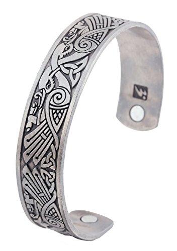 LIKGREAT LemAmazon Keltischer Knoten Wikinger Krähe Armband Norse Magnetische Edelstahl Manschette Armreif Armreif für Herren (Antik-Silber)