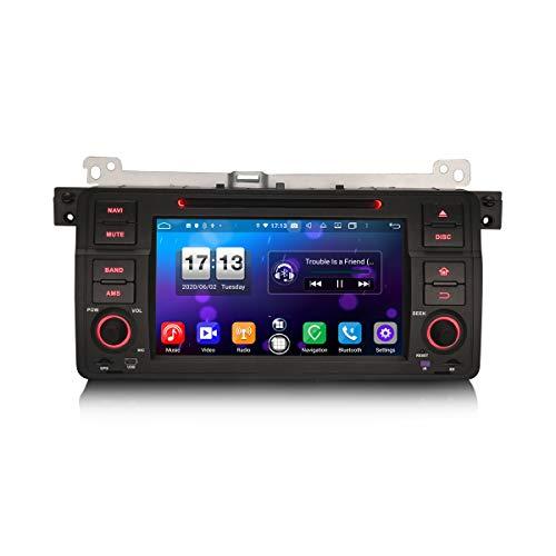 ERISIN 7 Zoll Android 10.0 Autoradio für 3er BMW E46 M3 Rover 75 MG ZT mit GPS-Navi Unterstützt Carplay Android Auto Bluetooth A2DP WiFi 4G DAB + RDS Mirror- Link TPMS 4GB RAM + 64GB ROM