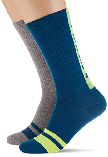 PUMA Mens Seasonal Logo Crew (2 Pack) Casual Sock, Petrol Blue, 39/42 (2er Pack)