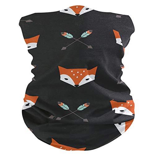 Stoff-Gesichtsmaske für Damen, multifunktional, Bandanas, Schnittmuster, unisex, Federn, Pfeile und Fuchs, Stoff-Maske, bedruckbar, für Herren und Damen, Kopfbedeckung, Gesichtshandtuch, waschbar