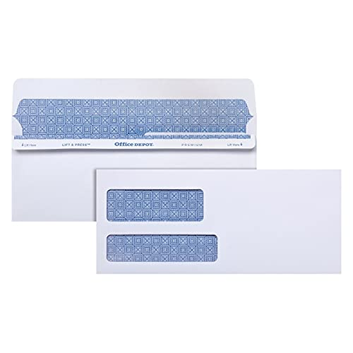 Office Depot 100% Recycled Lift Press(TM) Double-Window Envelopes, 9 (3 7/8in. x 8 7/8in.), White, Pack of 500, 76169