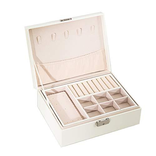 TYX-SS Damen Lederschmuckschatulle, Schlafzimmer mit Doppelbett aus Holz Schmuckschatulle, Prinzessin Schmuck Aufbewahrungsbox, Make-up-Box,Weiß