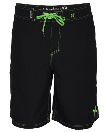Hurley Men's One and Only 22 Inch Boardshort, Black/Neon Green, 34
