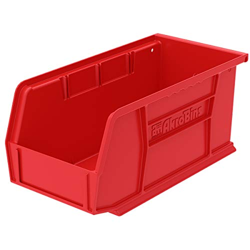 Akro-Mils 30230 AkroBins Plastic Storage Bin Hanging Stacking Containers, (11-Inch x 5-Inch x 5-Inch), Red, (12-Pack)