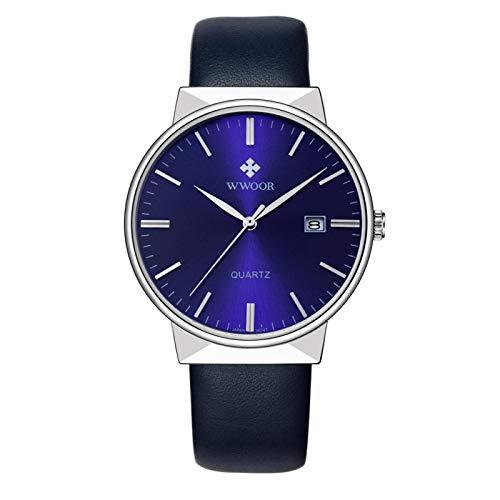 Reloj de pulsera de cuarzo con calendario de correa de cuero PU para hombre de 3 colores WWOOR, espejo de cristal mineral reforzado, impermeable diario de 30 m, uso diario y otras ocasiones(azul)