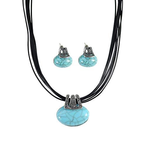 Lsv-8 - Juego de Collar y Pendientes con Colgante de Turquesa