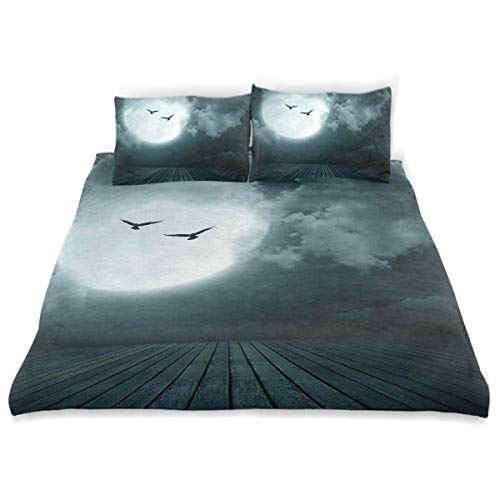 Popun Juego de Funda nórdica Danger Night con Luna Llena nublada y murciélagos Pájaros en Las Tierras oscuras encantadas Juego de Cama Decorativo de 3 Piezas con 2 Fundas de Almohada