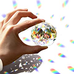 FACETED CRYSTAL: Made from high-quality substantial crystal-clear material with a multi-faceted finish, these crystal balls reflect light and make beautiful light refraction. EXQUISITE CRAFTWORK-- Every glass cutting face all cut by diamond, every de...