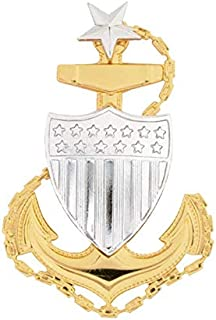 Medals of America Coast Guard (USCG) Cap Device Senior Chief E 8 Regulation Size Gold One Size