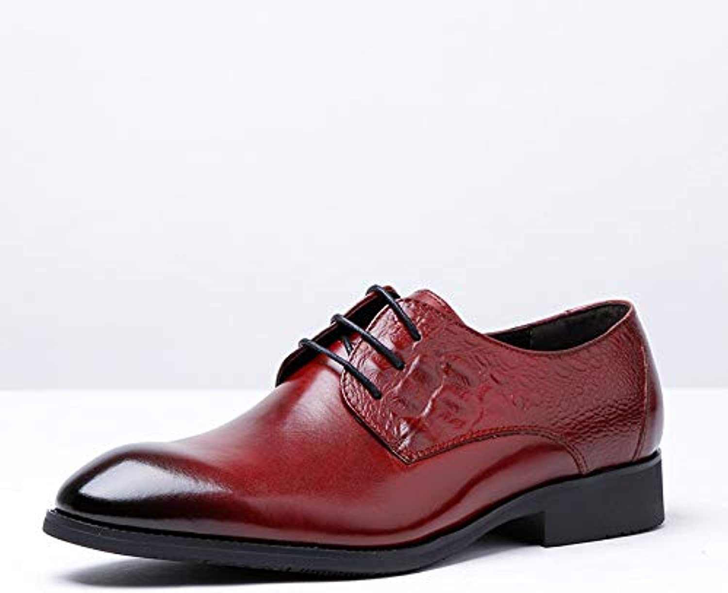 Ruiyue Leather Oxford shoes, Casual Lace-up shoes High-end Men's shoes With Pattern Decoration (color   Red, Size   39-EU)
