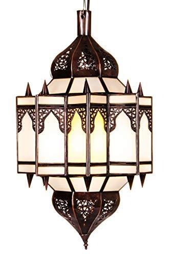 Orientalische Lampe Pendelleuchte Weiß Alia 50cm E27 Lampenfassung | Marokkanische Design Hängeleuchte Leuchte aus Marokko | Orient Lampen für Wohnzimmer Küche oder Hängend über den Esstisch