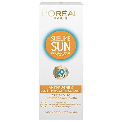 L'Oréal Paris Sublime Sun Crema Viso Anti-Rughe e Anti-Macchie Solari IP 50+, 75 ml