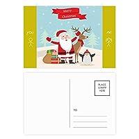 クリスマスのサンタクロースのヘラジカペンギン祭り 友人のポストカードセットサンクスカード郵送側20個