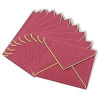 封筒 シンプル (選べる5色/10枚セット) 「 お祝い 挨拶 ラブレター お見舞い お礼状用 などに最適♪」 ふうとう 【YHM corporation】 (ワインレッド)