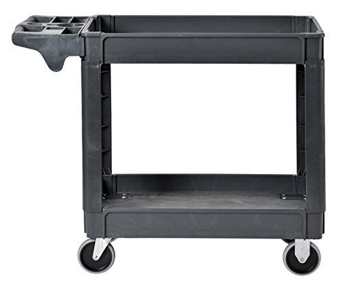 Sandusky Lee PUC174033-2 Heavy-Duty Plastic Utility Cart, 2 Shelves, 33' Width x 40' Height x 17' Depth, Gray