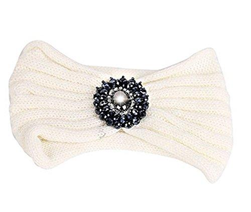 TININNA Serre-tête Bandeau Bande de Cheveux Laine Tricoté Turban Elastique Couvre-Oreille Head Wrap Chapeaux avec des Pierres pour Femme Fille - Blanc - Taille unique