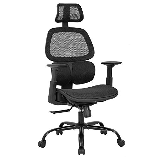 Office Chair,Ergonomic Desk Chair Mesh Computer Chair with Arms Lumbar Support Swivel Rolling High Back Task Chair for Men Adults,Black