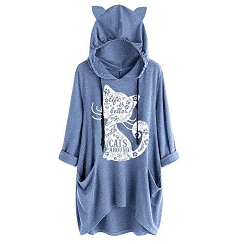 Sweats à Capuche Femme, FNKDOR Femme Imprimé Manches Longues Baggy Sweatshirt Ourlet Irrégulier Lâché Hoodies Sweat Tunique avec Poche (B Bleu,XXL)