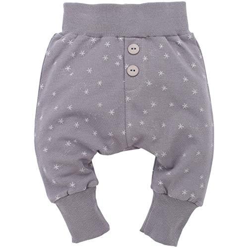 Pinokio - Magic - Baby Hose Baumwolle, Grau Anthrazit Sterne aus Glitzer- Jogginghose, Haremshose, Pumphose - elastischer B& für Mädchen mit Glitzersternchen Knöpfe (110)