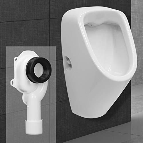 ECD Germany Urinario con Entrada por Detrás + Sifón de Aspiración 50 mm DN40/50 con Junta Cerámica Blanca WC con Salida Vertical PE Blanco Diseño Moderno y Forma Compacta para Montaje en Pared