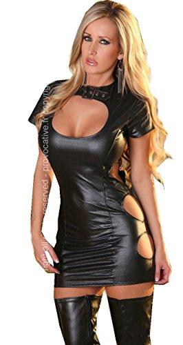 Wetlook Kleid PR0106 Domina Chemise in schwarz von Provocative Dessous L/XL (38-40)