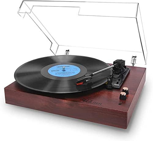 Tourne Disque, VOKSUN Platine Vinyle Bluetooth Rétro avec 2 Haut-parleurs Intégrés et Trois Vitesses 33/45/78 TR/Min, Fonction du Vinyle au Numérique/USB/RCA/Aux(Couleur Rouge Noyer)