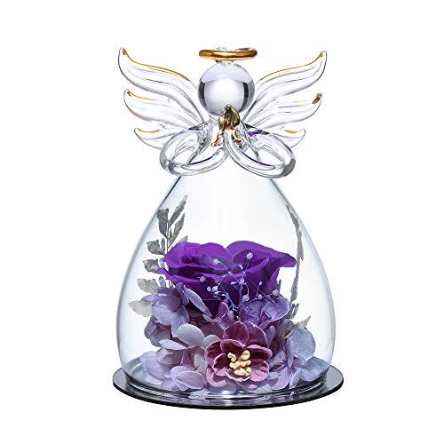 Für immer Rose in Engel Glasfiguren Künstliche Blume in einer Glaskuppel - Ewige handgemachte Blumen Galaxie Lila Rose Einzigartige Geschenke für Frauen Weihnachten Valentinstag Jubiläum Geburtstag